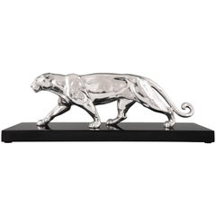 Art Deco Silvered Sulpture of a Panther Alexandre Ouline, France, 1930