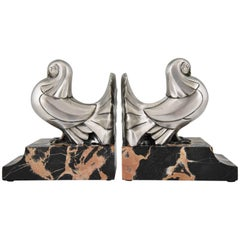 Art Deco Silvered Bronze Dove Bookends by Scribe Marble Base, France, 1930