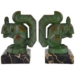 Art Deco Squirrel Bookends by Max Le Verrier on Marble Base France, 1930