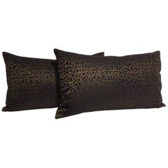 Silk Cushions Contemporary Jacquard Pattern Colour Black and Bronze