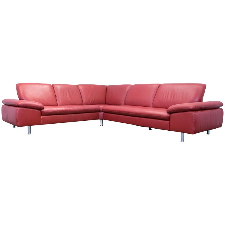 willi schillig loop designer corner sofa leather red couch. Black Bedroom Furniture Sets. Home Design Ideas