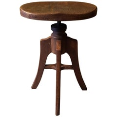 French Art Nouveau Adjustable Stool Made of Walnut