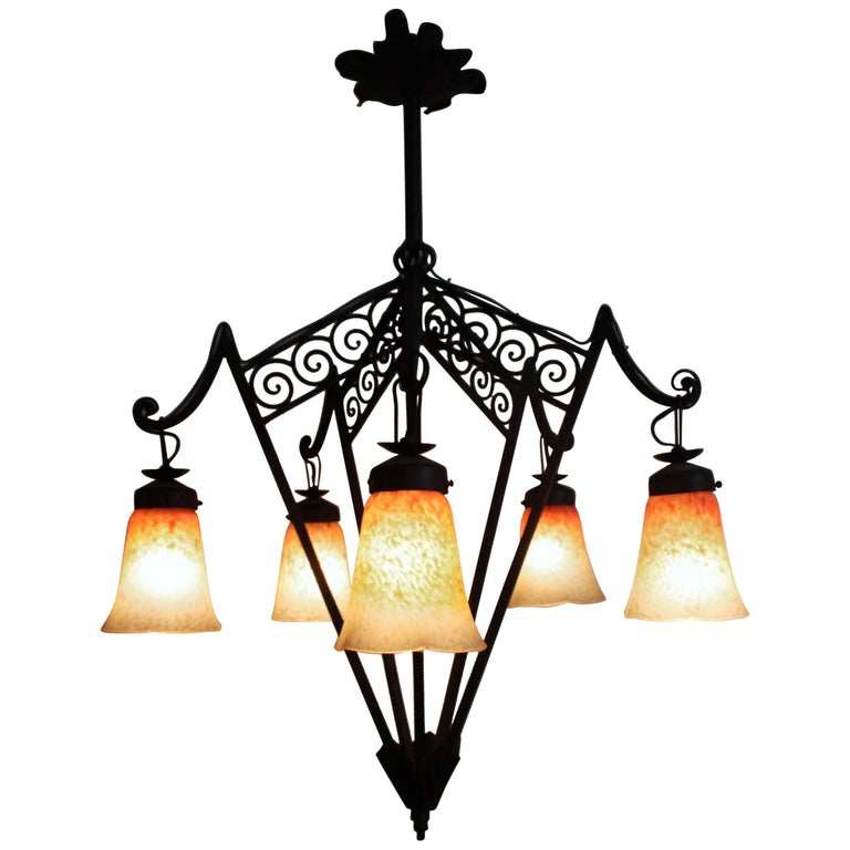 French Art Deco Wrought Iron and Glass Chandelier, circa 1925