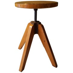 20th Century French Adjustable Industrial Stool Made of Ash