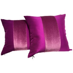 Silk Cushions Mohair Centre Stripe Colour Cyclamen