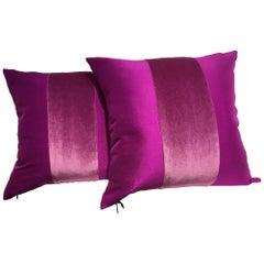 Silk Cushions Mohair Centre Stripe Color Cyclamen