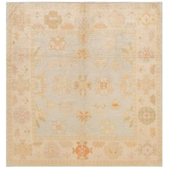 21st Century Beige/Blue Turkish Oushak Carpet