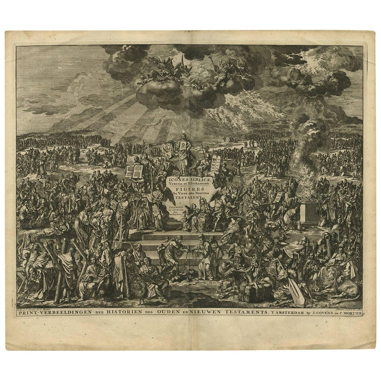 Antique Bible Frontispiece by J. Luyken, 1743