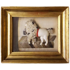 Late 19th Century French Framed Curiosity, Poodle Made of Leather, Wool, Pearls