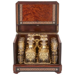 Antique Cut-Glass Liquor Set in Birdseye Maple Marquetry Box