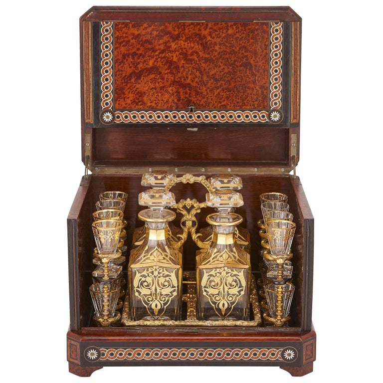 Antique Cut-Glass Liquor Set in Birdseye Maple Marquetry Box For Sale