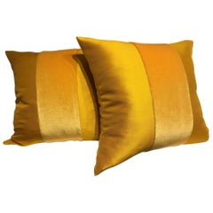 Silk Cushions Mohair Centre Stripe Color Sun Yellow