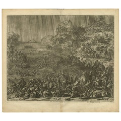 Antique Bible Print The great Flood by J. Luyken, 1743