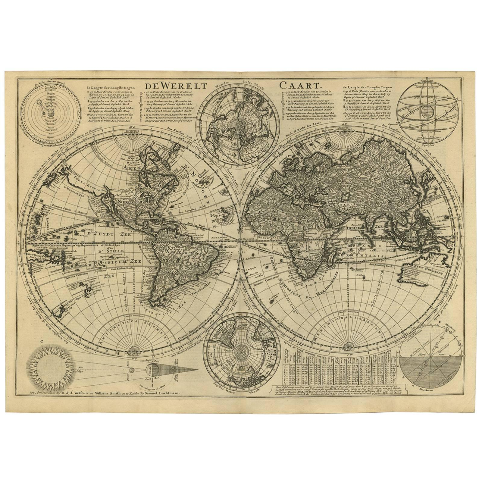 Antique world map by r de vaugondy 1743 for sale at 1stdibs gumiabroncs Image collections