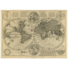 Antique Bible World Map by R. & J. Wetstein, 1743