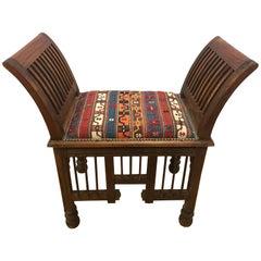 Teak and Kilim Upholstered Bench Settee