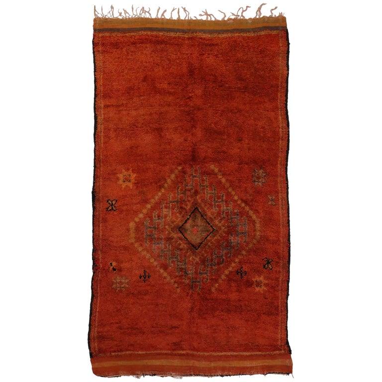 Vintage Berber Moroccan Rug With Tribal Design, Vermilion