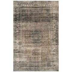 Vintage Gray/Beige Distressed Overdyed Carpet