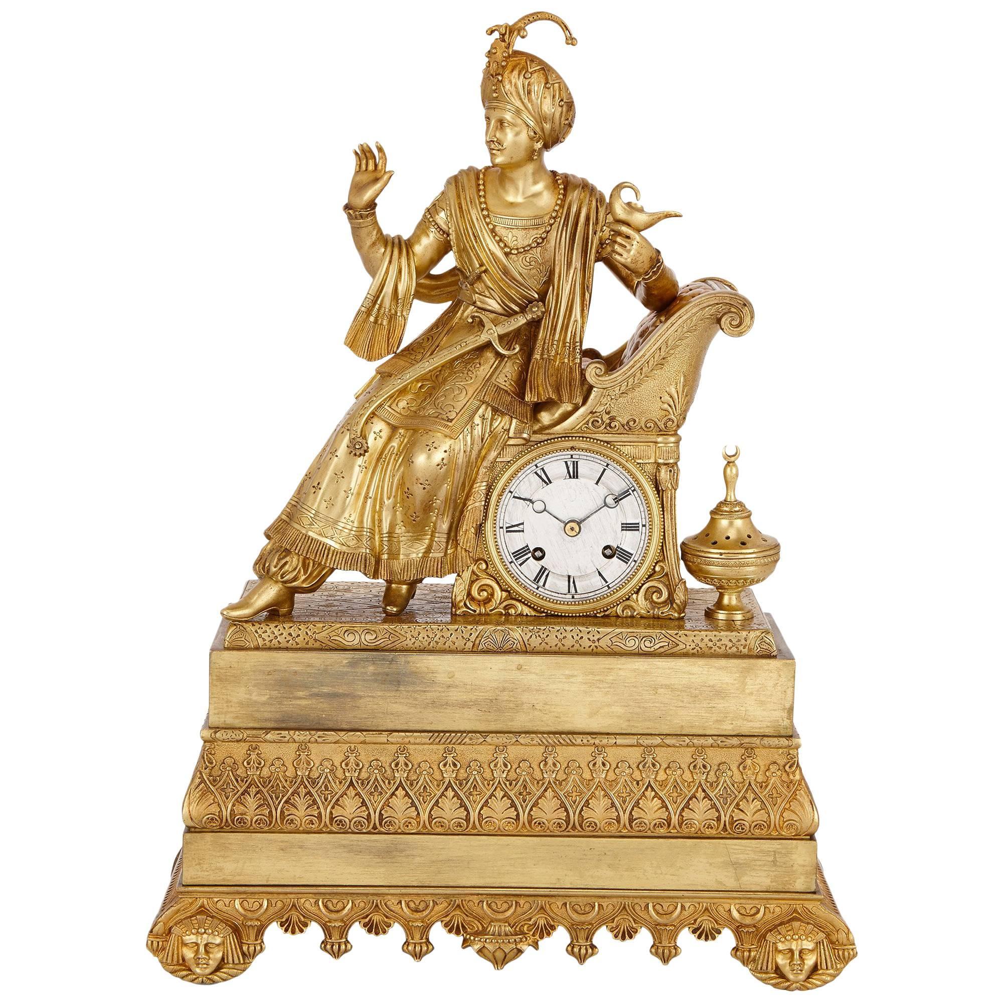 Antique French Orientalist Style Ormolu Mantel Clock