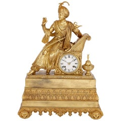 Antique French Orientalist Style Ormolu Mantel Clock