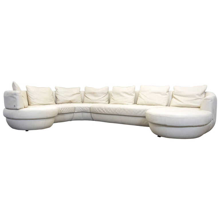 natuzzi designer corner sofa leather beige function couch. Black Bedroom Furniture Sets. Home Design Ideas