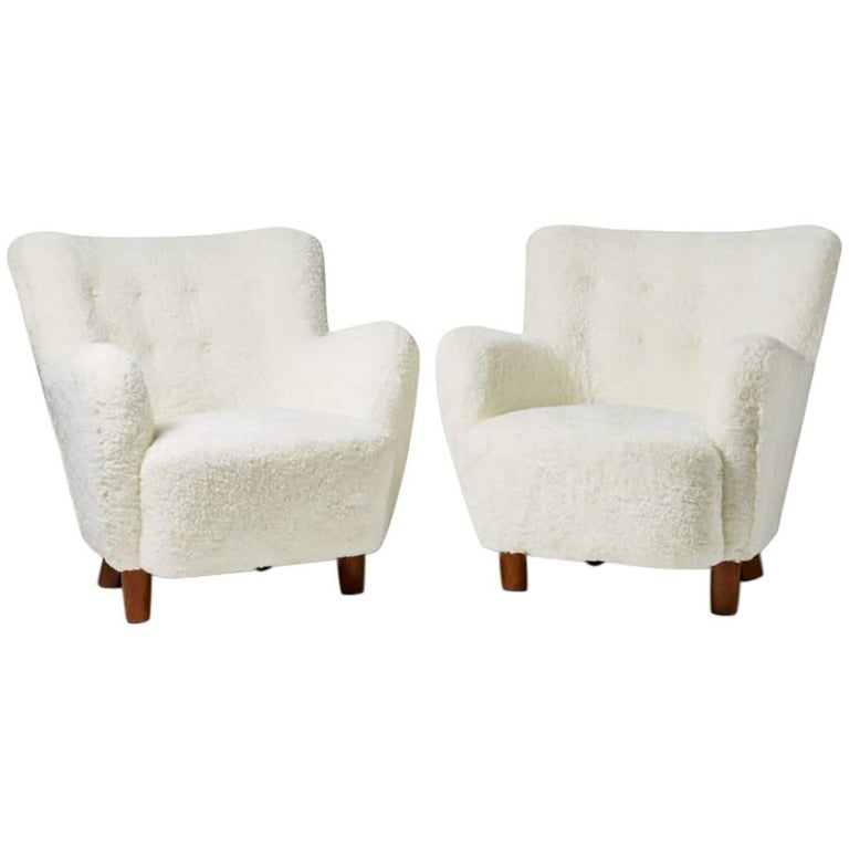 Pair of Armchairs, Anonymous, Denmark, 1940s For Sale