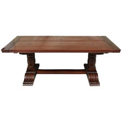 Canadian Carved Pine Trestle Table with Two Leaves