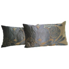 Silk Cushions Modern Floral Pattern Color Teal, Ice Green and Beige