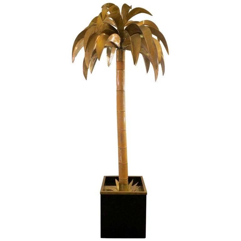 Tall Maison Jansen Palm Floor Lamp For Sale