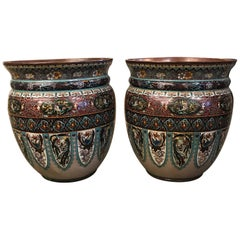 Huge Pair of Cloisonné Planters