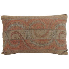 Antique Kashmir Paisley Lumbar Decorative Pillow with Trim