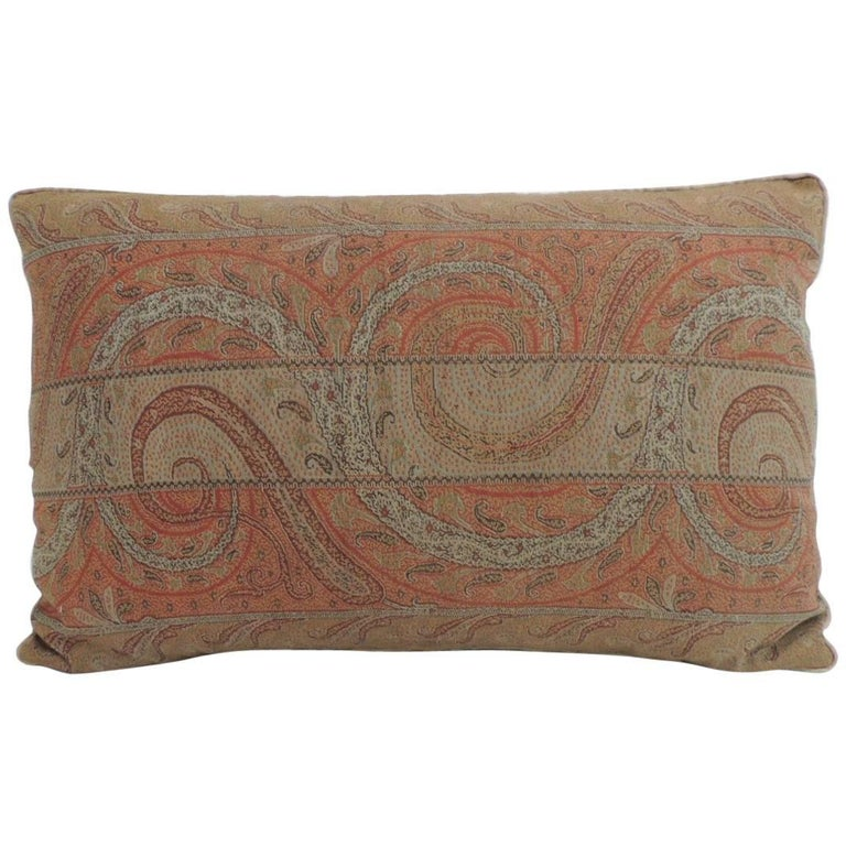 Antique Kashmir Paisley Lumbar Decorative Pillow With Trim For Sale Mesmerizing Decorative Trim For Pillows