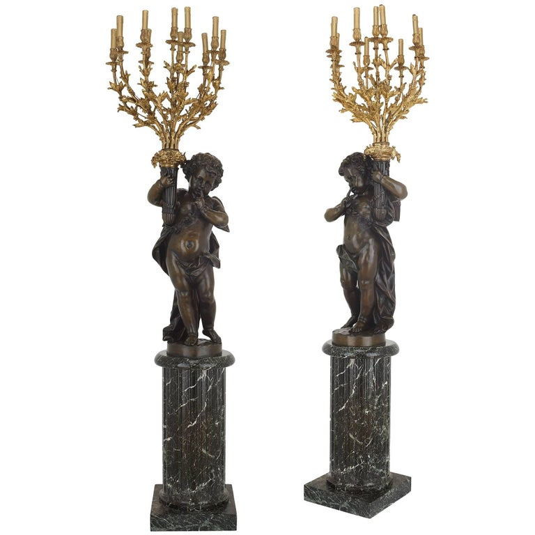 Pair of Monumental French Antique Marble and Bronze Candelabra Torcheres For Sale