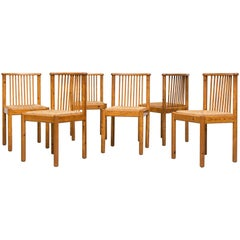 Mid-century Pine Spindle Back and Rush Chairs