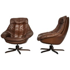Danish Leather Chair by H. W. Klein for Bramin, 1960s, Set of Two