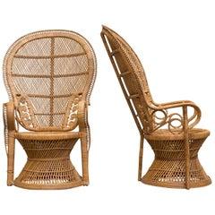 Midcentury Bamboo Peacock Chair
