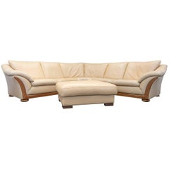 Designer Corner Sofa Set Footstool Anilin Leather Beige Couch Modern