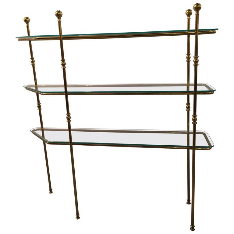Mid-Century Modern Brass and Glass Etagere Console