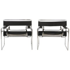 Pair of Marcel Breuer Wassily Chairs by Knoll All Original Black Leather