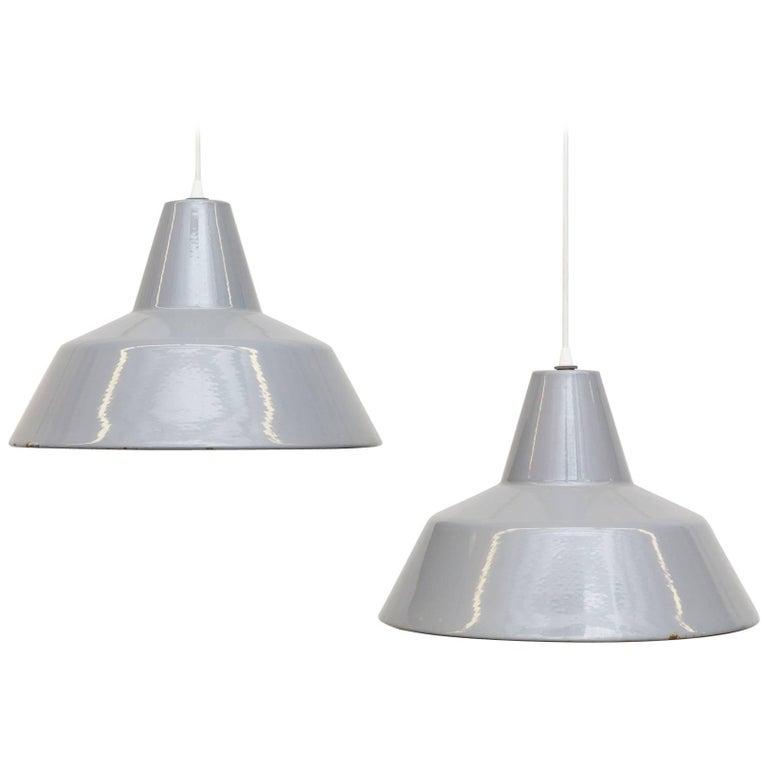 Industrial Grey Enameled Metal Factory Pendant Lamps