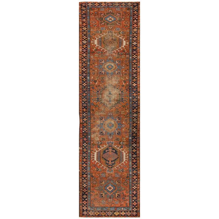 1920s rust and orange persian heriz carpet for sale