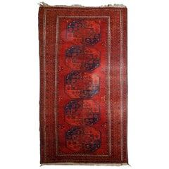 Handmade Vintage Afghan Ersari Rug, 1950s