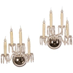 Pair of Vintage English George III Style Cut-Glass Sconces, circa 1940