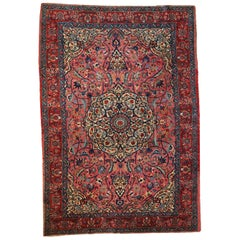 Handmade Antique Persian Lilihan Rug, 1920s