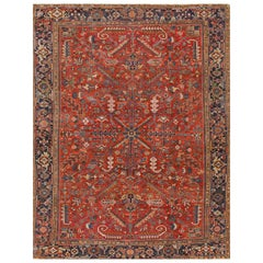 1920s Red Rust Persian Heriz Carpet