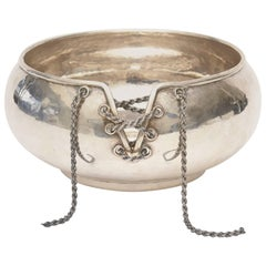 Italian Hand Forged Hallmarked Sterling Silver Corset Bowl