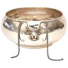 Sterling Silver Lace Up Chain Bowl or Wine Caddy Italian Barware Vintage