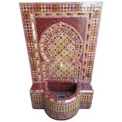 Moroccan Burgundy / Multi-Color Tile Fountain - Garden / Indoors