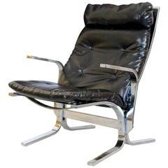 Mid-Century Modern Ingmar Relling Westnofa Style Chrome Wave Lounge Chair