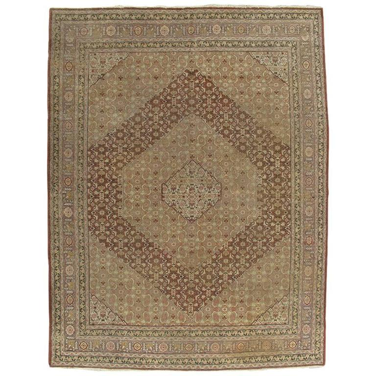 Antique Tabriz Carpet, Handmade Persian Rug in Masculine Gold, Brown and Taupe For Sale